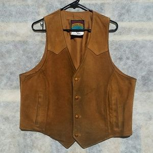 Amazing Vintage Pioneer Wear Leather Vest, sz 46